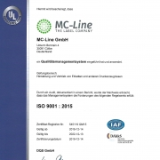 MC-Line Zertifikat ISO 9001
